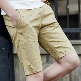 鱼骨头男士五分裤纯棉短裤