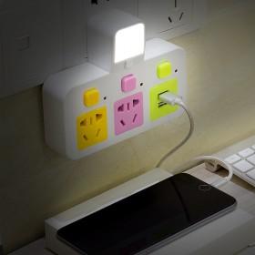 一转四多功能家用转换器插头usb小夜灯带开关