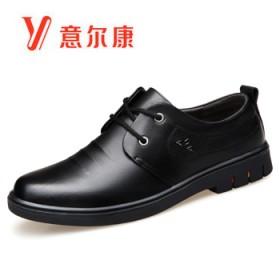 意尔康新款真皮系带休闲鞋男士皮鞋