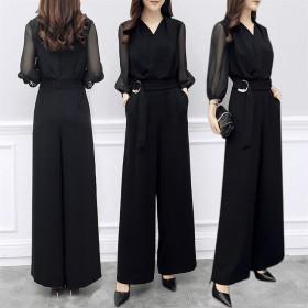 春夏新款雪纺裤黑色七分袖修身显瘦阔腿连体裤套装