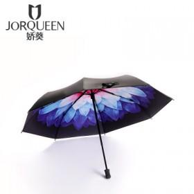 遮阳小黑伞黑胶防紫外线三折折叠遮阳太阳伞防晒伞雨伞