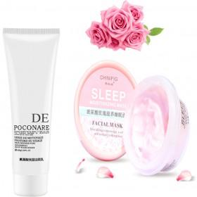氨基酸净透控油清洁洗面奶洁面乳玫瑰美白睡眠面膜套装
