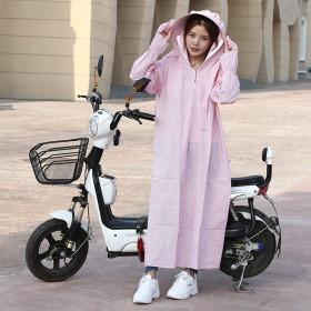纯棉防晒衣女电动车防晒服摩托车长袖披肩遮阳衣宽松长