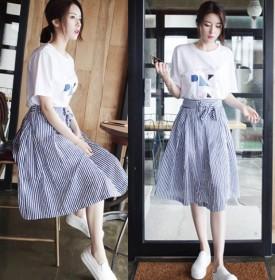 夏套装半身裙女装2018新款小清新A字裙韩版条纹