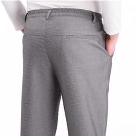 中老年男休闲裤夏季薄款松紧腰运动裤中年西裤