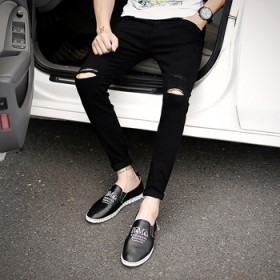 新款时尚夏季青少年膝盖破洞牛仔裤男九分裤韩版修身