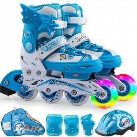 動感兒童溜冰鞋全套裝輪滑鞋旱冰鞋滑輪鞋可調男女前閃