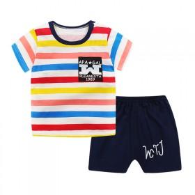 新款童装时尚韩版可爱卡通印花条纹舒适短袖短裤套装