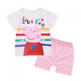 童装夏季佩奇图案时尚可爱卡通儿童短袖套装新款两件套