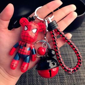 卡通编织钥匙链男士创意女士款暴力熊铃铛汽车钥匙扣蝙