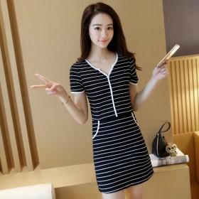 新品连衣裙夏季全棉短袖条纹连衣裙上衣修身