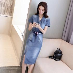 中长款夏装修身女装V领短袖牛仔裙子
