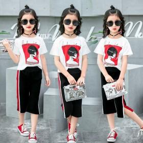 新款舒适大方童装女童短袖套装中大童时尚休闲两件套潮