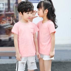 儿童竹节棉短袖T恤2018新款夏季男女童装半袖体恤