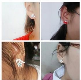 3对装耳钉女气质百搭防过敏珍珠爱心小耳钉耳环甜美