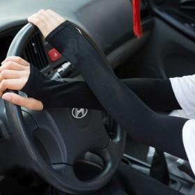 春夏防紫外线薄袖套防晒骑车开车半指手套户外长款遮阳
