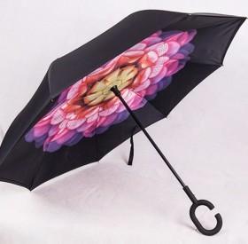 晴雨两用防紫外线双层C型反向伞 免持式手动长柄创意