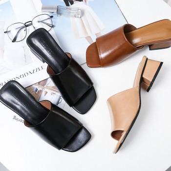 2018夏季新款女凉鞋懒人鞋方头平跟女拖鞋