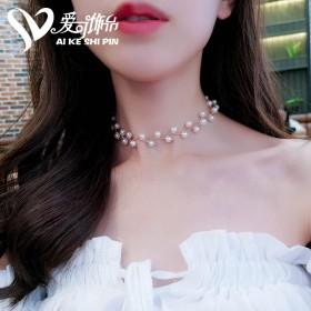 珍珠锁骨链女choker颈带简约短款项链女脖子饰品