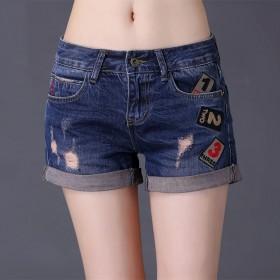 牛仔短裤夏季韩版百搭修身卷边破洞女热裤