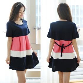 孕妇夏装韩版纯棉短袖大码上衣裙子