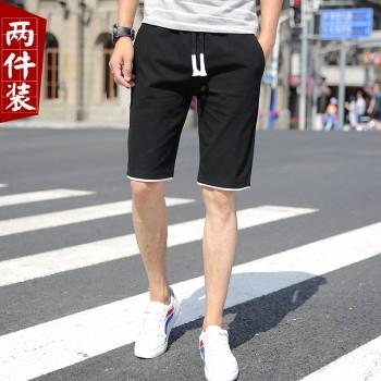 2件裝 短裤男五分裤男士短裤子夏季薄款宽松休闲短裤