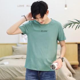 男式t恤柠檬黄圆领个性字母印花休闲短袖新品打底衫