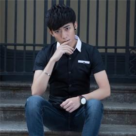 夏季新款时尚短袖男式衬衫纯色修身商务免烫青年薄款男