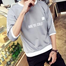夏季男士短袖t恤韩版修身日系七分袖个性打底衫学生潮