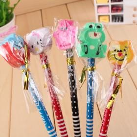 【10支装】儿童文具带橡皮棒棒糖HB铅笔【萌】