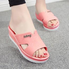 夏季女式厚底坡跟凉拖鞋女士居家塑料防滑浴室拖鞋室内