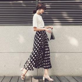 【2018新品】女装夏季雪纺红黑高腰波点裙 女