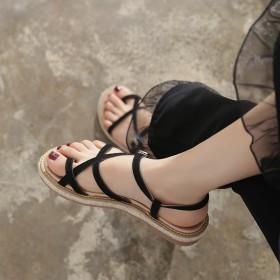 港风凉鞋女平底复古外穿夏简约淑女韩版个性女款