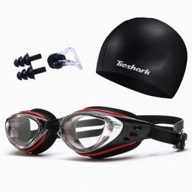 游泳眼镜成人儿童男女透明高清防雾防水泳镜帽子套装