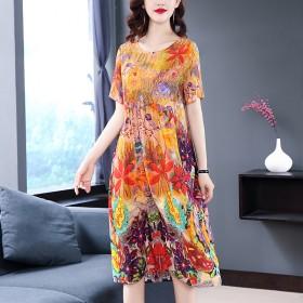 夏季新款时尚印花重磅真丝连衣裙桑蚕丝中长款裙子