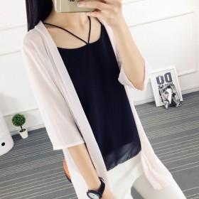 2018夏女装防晒衣开衫中长款披肩防紫外线雪纺衫