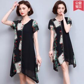 夏季新款欧美大码女装宽松显瘦遮肚子雪纺短袖连衣裙