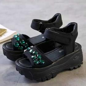 厚底水钻学生百搭凉鞋女夏罗马松糕鞋魔术贴女鞋