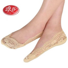 【5双装】袜子女浅口 船袜女 棉袜超薄蕾丝隐形袜