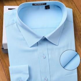 坤爵男士全棉免烫长袖衬衫夏季纯棉商务休闲衬衣正装工