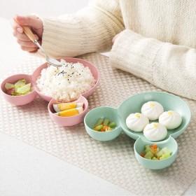 两个装 创意小麦秸秆餐具盘子卡通米奇宝宝碗盘