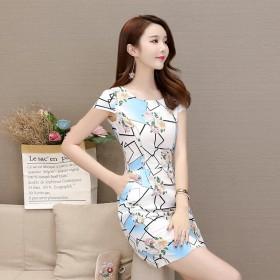 女装连衣裙新品韩版包臀裙收腰显瘦短袖大码圆领一步裙