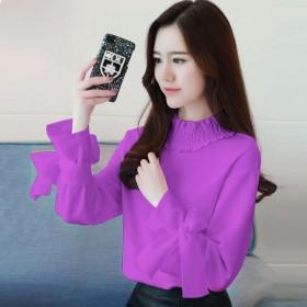 2018新款春装雪纺衫女韩版蝴蝶结雪纺衬衫女长袖紫