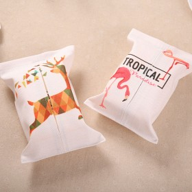 INS火烈鸟手绘棉麻布艺纸巾套车载抽纸巾包客厅卧室