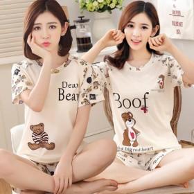女士睡衣女式夏短袖短裤韩版大码家居服学生夏季两件套