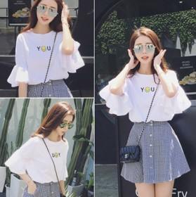 2018新款韩版宽松显瘦喇叭袖圆领T恤上衣格子裙