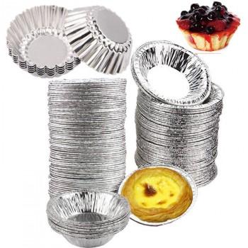 50个铝制蛋挞模锡纸杯蛋糕模具烘焙用具菊花盏铝