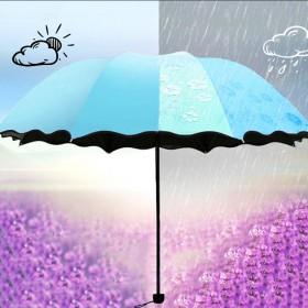 遇水开花雨伞 黑胶防嗮折叠晴雨伞