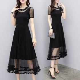 大码小黑裙女装夏装修身长款连衣裙女黑色显瘦长裙短袖