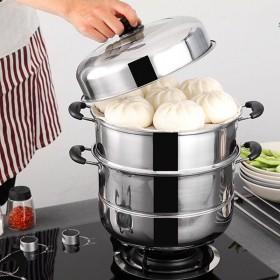 蒸锅不锈钢三层加厚火锅3层二2层多层蒸笼电磁炉锅具